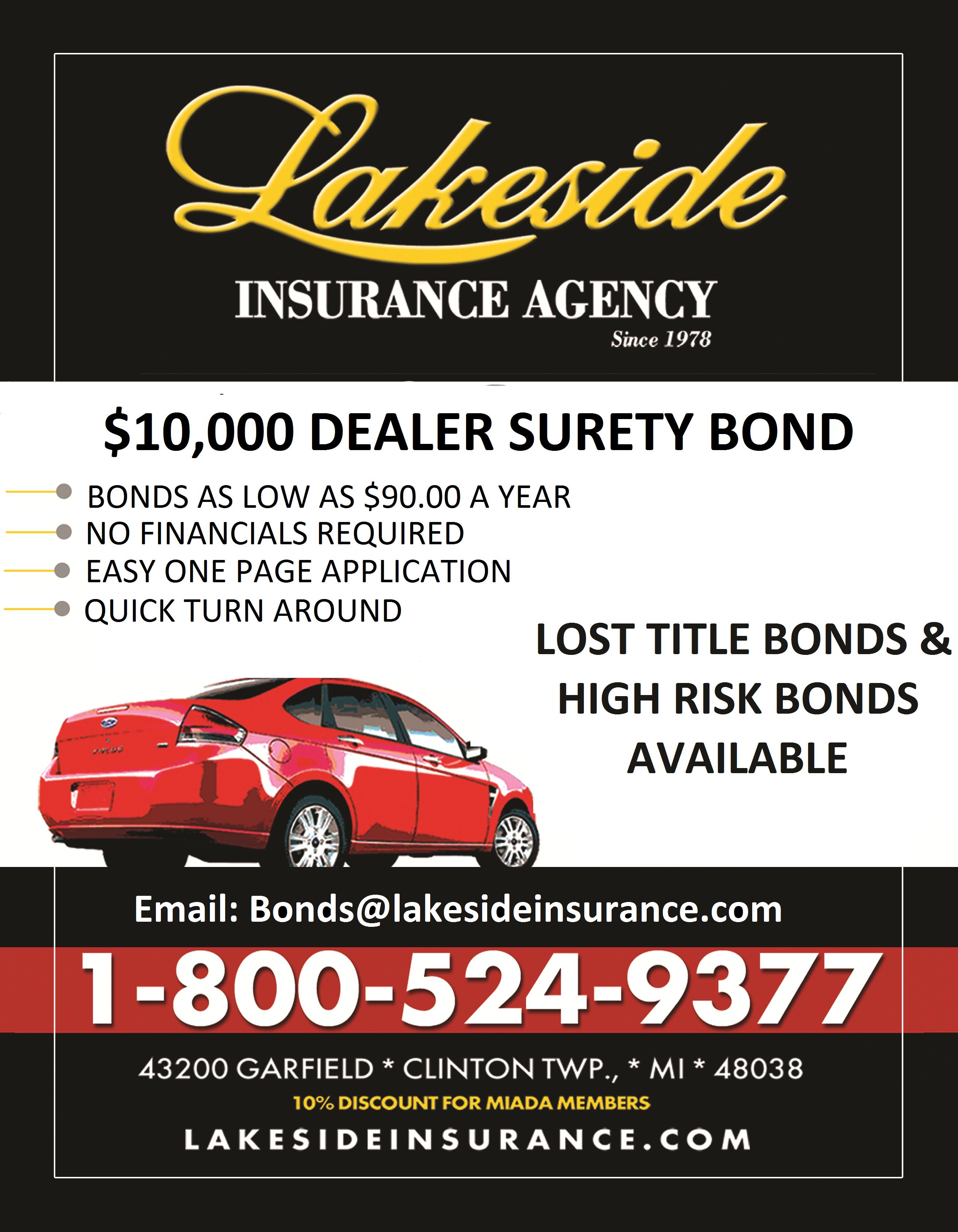 lakeside insurance dealer surety bonds metro detroit macomb oakland wayne county michigan